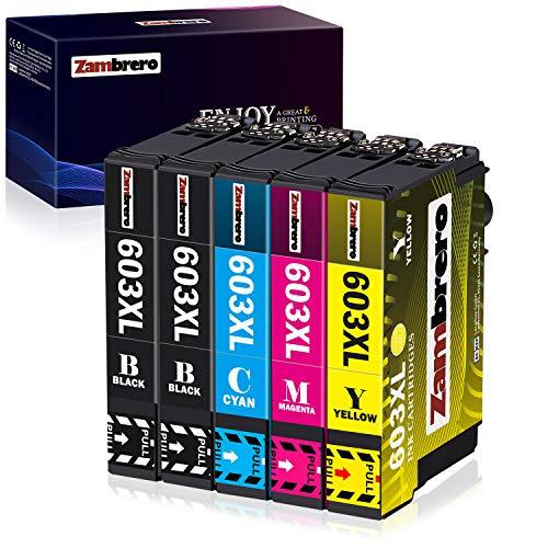 Zambrero 603XL Cartuchos de Tinta Reemplazo para Epson 603 Tinta, Compatiable con Epson Expression Home XP-2100 XP-2105...