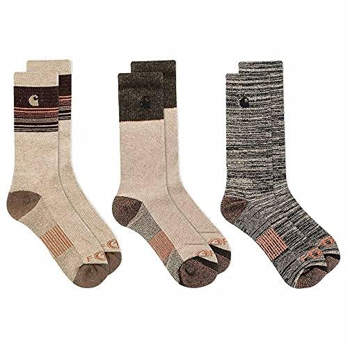 Carhartt Force Merino Wool Crew Socks 3-Pack Brown LG (US Men's 6-12)