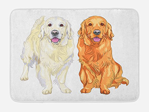 Ambesonne Golden Retriever Bath Mat, Smiling Pale and Red Dog Pure Breed Sitting Staying Thoroughbred, Plush Bathroom Decor Mat with Non Slip Backing, 29.5' X 17.5', Orange Ivory