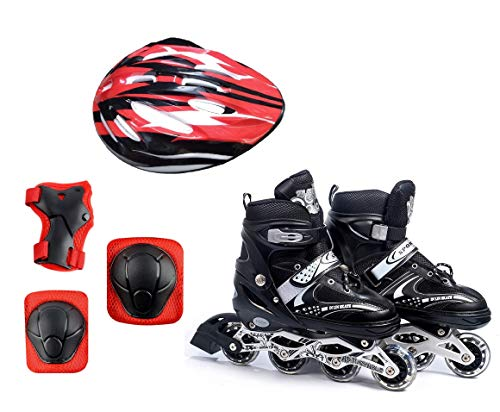 Diswa Adjustable Aluminium Body in-Line Skates Combo Size M (34-39)