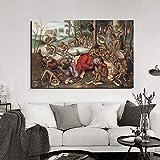 KWzEQ Famoso Pintor Mono música Arte de la Pared Lienzo póster Imagen Moderna Pared Sala de Estar decoración del hogar,Pintura sin Marco,80x120cm