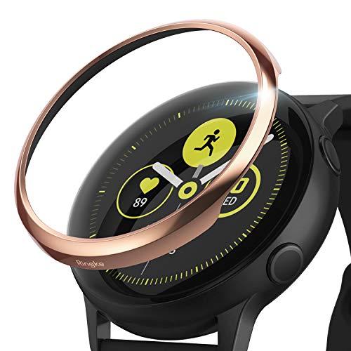 Ringke Bezel Styling Kompatibel mit Galaxy Watch Active Hülle Lünette Ring Kratzfest [GW-A-02] Glänzendes Roségold