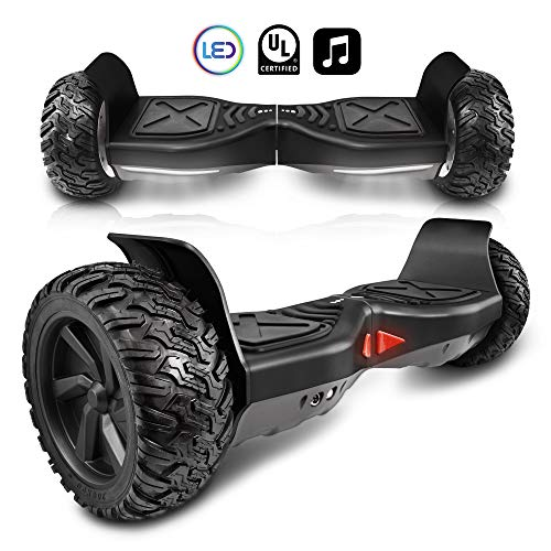CHO[TM All Terrain Rugged 6.5 pulgadas ruedas Hoverboard Off-Road Smart Auto Equilibrio Scooter eléctrico con altavoz integrado luces LED UL2272 certificado
