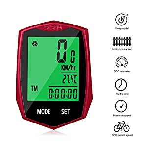 KOROSTRO Ciclocomputador, inalámbrico LCD bicicleta velocímetro Sport bicicleta ordenador cuentakilómetros inalámbrico impermeable bicicleta Backlight para ciclismo Realtime Speed Track y distancia