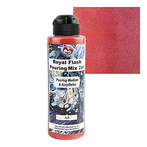 Ideen mit Herz Royal Flash Pouring Mix 2 en 1 | Pouring Medium & Metallic - Pintura acrílica con efecto purpurina | 180 ml | No es necesario mezclar con fluido, medio o aceite de silicona