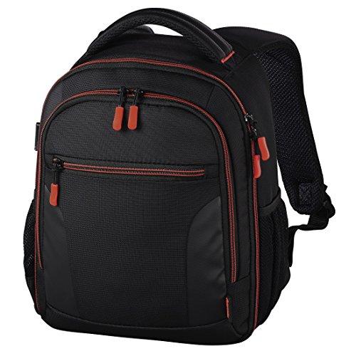 Hama Miami - Mochila para equipo fotográfico (Funda tipo mochila, Universal, Negro, Rojo), 00139856