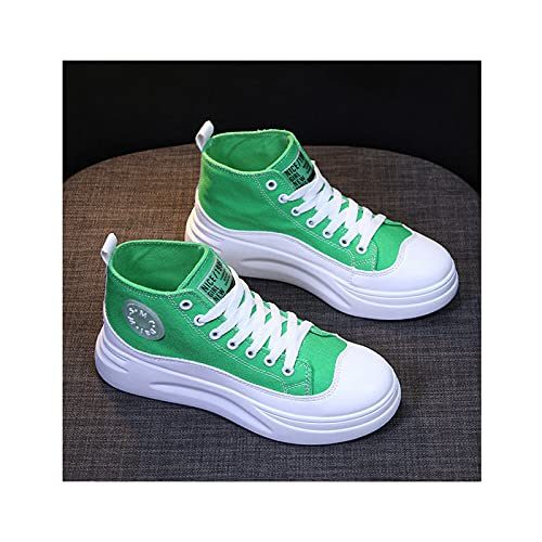 HaoLin Señoras Low Top Flat Casual Gym Sports Trainers Zapatillas de Lona Zapatos de Conducción,Green-36 EU