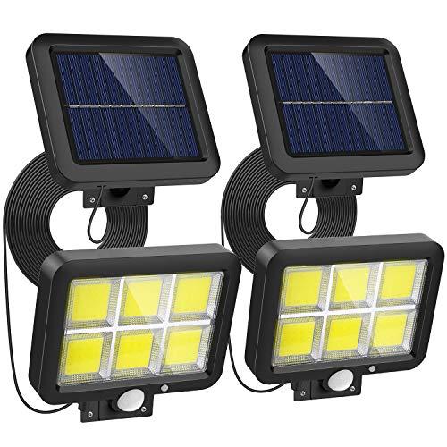 Nacnic Solarlampen für Außen mit Bewegungsmelder, 120 COB LED Strahler Aussen,Superhelle Solarleuchte 3 Modi IP65 Wasserdichte,Wandleuchte mit 16.5ft 5M Kabel, 2 Stück