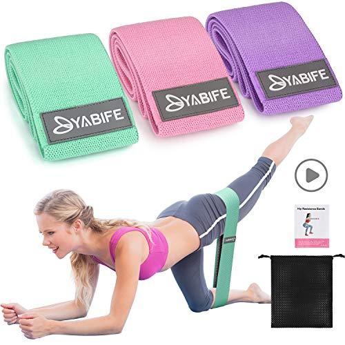 Yabife Set Fasce Elastiche Fitness, Bande Elastiche Fitness con 3 Livelli di Resistenza Portatile Attrezzi Palestra casa per Yoga Pilates Squat Braccia Gambe e Glutei