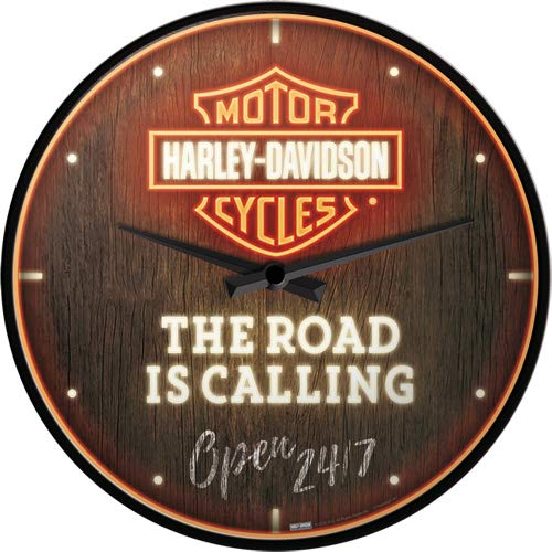 Nostalgic-Art, Retro Wanduhr, Harley-Davidson – Road is Calling – Geschenk-Idee für Motorrad-Fahrer, Große Küchenuhr, Vintage-Design zur Deko, Ø 31 cm