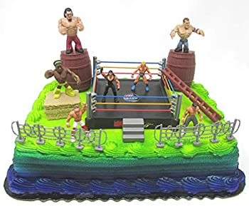 Deluxe Birthday Cake Topper Wrestler Rumblers Wrestling Birthday Cake Featuring Random Wrestler Rumbler Figures and Decorative Themed Accessories
