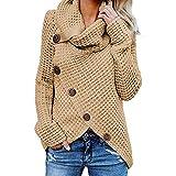 Suéter de Cuello Alto Suéter de Punto Cuello Alto de Gran tamaño para Mujer Suéter Grueso de Invierno Suéter Casual Outwear Color sólido Casual Elegante con Cinco Botones Suéter sólido e Invierno