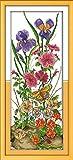 Punto de cruz Kit Bordados para niños y adultos Mariposa en flor,16 x 20 pulgadas DIY costura punto de cruz set decoración de pared principiante(11CT)