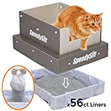 SpeedySift Cat Litter Box with Disposable Sifting Liners, Cats' Favorite Box-Like PP Plastic High...