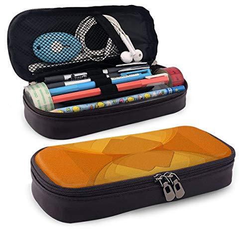 Estuche para lápices de azulejos de color naranja, estuche para lápices de maquillaje, estuche organizador, duradero, para estudiantes, papelería con doble cremallera para la escuela, la oficina o viajes