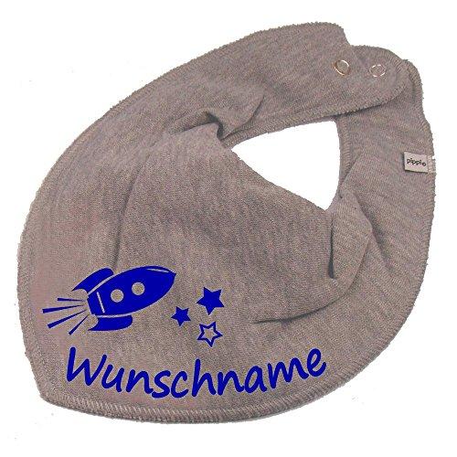 Elefantasie Elefantasie HALSTUCH Rakete mit Namen oder Text personalisiert grau für Baby oder Kind