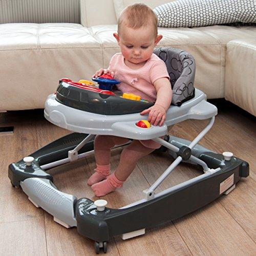 2IN1 Lauflernhilfe + Spielcenter (12 Melodien) Gehfrei Gehhilfe Baby Walker Babyschaukel (Schwarz/Grau)