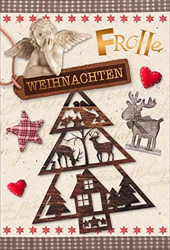 GTK - Gewei & Trofee KRUMHOUT Vrolijk Kerstkaart Kerstkaart met engel en hert met rode envelop/envelop