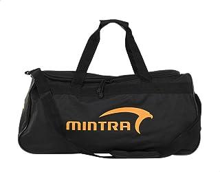 شنطة رياضية دفل بوليستر بيد علوية وطبعة شعار امامية مختلفة اللون للجنسين من مينترا - اسود