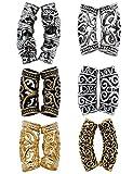 Fani 12 Pieces Hair Tube Beads Dreadlocks Beads Hair Braiding Jewelry Hair Decoration Accessories, 6 Styles, DIY Tibetan Silver