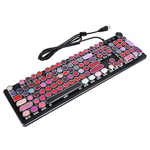 108 Keys Cute Mechanical Keyboard, Backlight Wired Keyboard, Multifunctional Retro Key Ergonomics Keyboard, Waterproof Mechanical Axis Vintage Keyboard, 12 Multimedia Keys Keyboard