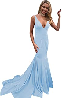 Women's Sexy Double V Neck Long Mermaid Evening Dresses 2019 Red Prom Dresses for Women