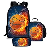 Durable Backpack Sets for School Water and Fire Basketball Backpack with Insulated Lunch Box Pencil Case