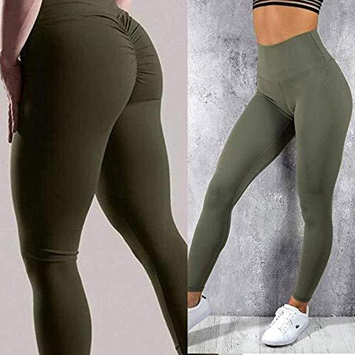 xingguang Pantalones de fitness para mujer, elásticos, para yoga, fitness, compresión, deportes, correr, gimnasio, yoga, leggings (color: verde, tamaño: M)