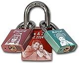 Familien Liebesschloss mit Foto | 1x 40mm (rot) + 2x 30mm (rosa / hell blau) | Premium ABUS Markenschloss | Geschenk für Eltern von Zwillingen mit Fotogravur