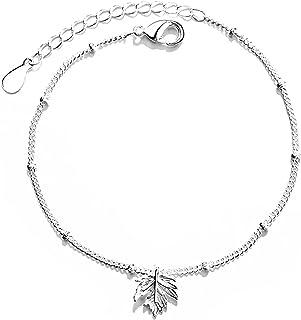 القيقب ليف قلادة سوار 925 الفضة الاسترليني للنساء نمط بسيط عيد ميلاد حزب مجوهرات هدية