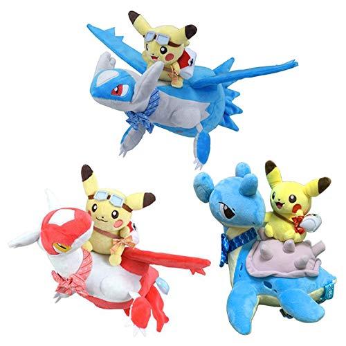 dqwer 3 Unids / Set 30Cm Lindo Pokemon Pikachus Lapras Latios Latias Pokemoned Juguetes De Peluche Muñeca Creativa Suave Almohada De Peluche Muñeca para Regalos De Chico