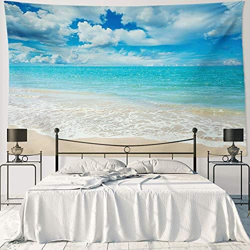 IUBBKI Wall Hanging Decor Art Polyester Fabric Tapestry Sea Beach Ocean Design Decoration Party - 90' x 60' 230cmx150cm - Pale Blue Water