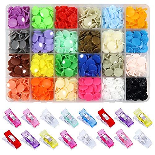 Toaab 260 conjuntos de botones a presión T5 a presión plásticos multicolor resina de 12 mm y clips de...