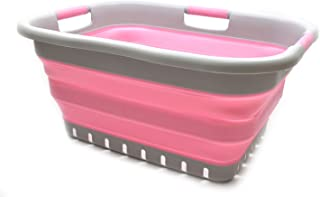 SAMMART Collapsible Plastic Laundry Basket - Foldable Pop Up Storage Container/Organizer - Space Saving Hamper/Basket (3 Handled Rectangular, Grey/Pink)