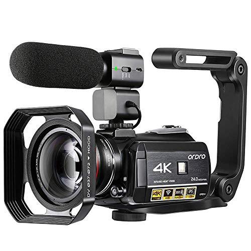 Videocamera 4K, Videocamera ORDRO AC3 Ultra HD Videocamera 1080P 60FPS WiFi e Videocamera per Visione Notturna IR 3.1    IPS Touch Screen Videocamere Digitali con Microfono Grandangolo Obiettivo