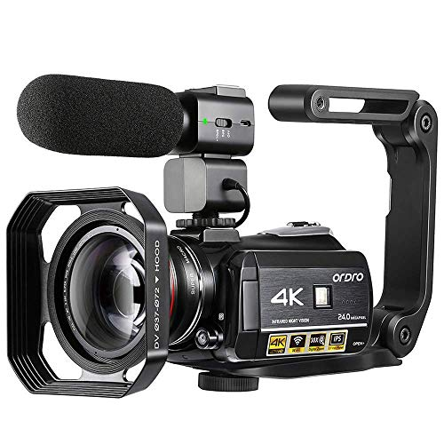 4K Camcorder, ORDRO AC3 Ultra HD Camcorder Videokamera 1080P 60fps IR Nachtsicht WiFi Video Kamera mit Extra Mikrofon, Weitwinkelobjektiv, Handstabilisator