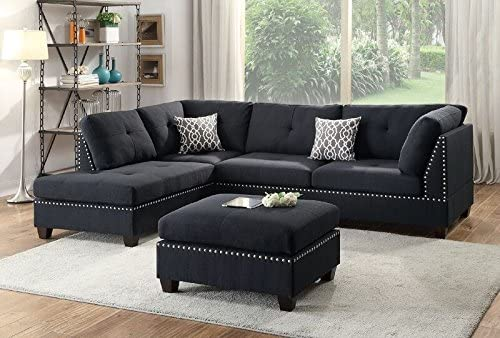 Best Poundex Bobkona Viola Linen-Like Polyfabric Left or Right Hand Chaise Sectional Set with Ottoman (Pa
