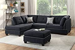 Seat Cushion Filled with foam and inner Spring for durability and comfort Tufted Seat and Back, nail-head accent on Arm and ottoman. Volume (per unit) - 52.86 (cu ft) U. S. Patented reversible design allowing this sectional to be Set up Chaise on the...