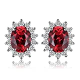 JewelryPalace Prinzessin Diana William Kate Middleton 1.3ct Natural Garnet Halo Stud Ohrringe Solid 925...