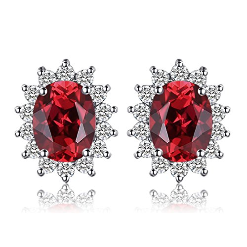 JewelryPalace Pendientes Princesa Diana William Kate Middleton Vintage Halo 1.3ct Genuino Granate Rojo Piedra Preciosa Natural Aretes Plata de ley 925