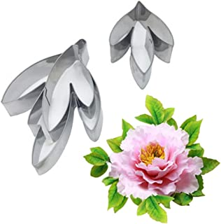 AK ART KITCHENWARE Petal & Leaf Stainless Steel Cutter Set Gum Paste Flower Making Tools for Decorating Cakes (Peony Leaf Cutters)