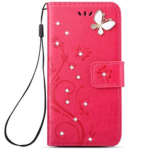 Herbests Kompatibel mit Huawei P20 Handy Schutzhülle Glänzend Glitzer Diamant Schmetterling Blumen Lederhülle Handyhülle Flip Bookstyle Leder Tasche Kunstleder Wallet Case,Rose Rot