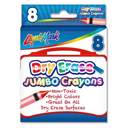 8 Count Dry Erase Crayons - Assorted Colors - Non-Toxic - Conforms to ASTM D-4236