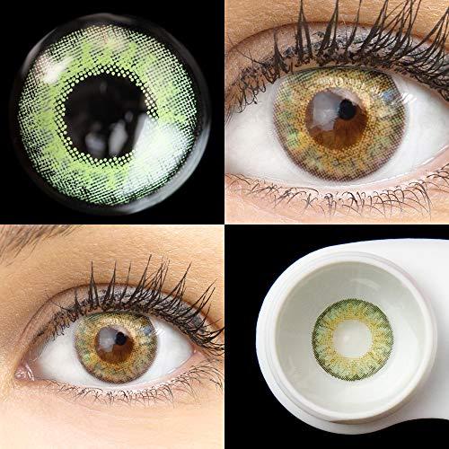 GLAMLENS Flora Gemstone Green + Behälter   Sehr stark deckende natürliche grüne Kontaktlinsen farbig   farbige Monatslinsen aus Silikon Hydrogel   1 Paar (2 Stück)   DIA 14,50   Ohne Stärke