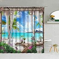 サンディビーチフラワーグリーン植物シャワーカーテンファブリックバスルーム用品フック付き装飾布カーテンシャワーカーテン72X72インチ