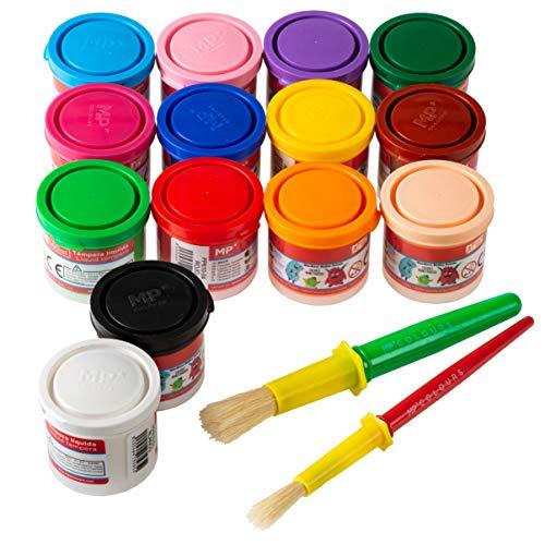 Artix Pro Pack 14 Botes de Temperas para Niños Lavable Liquidas 40ml + 2 Pinceles para Tempera