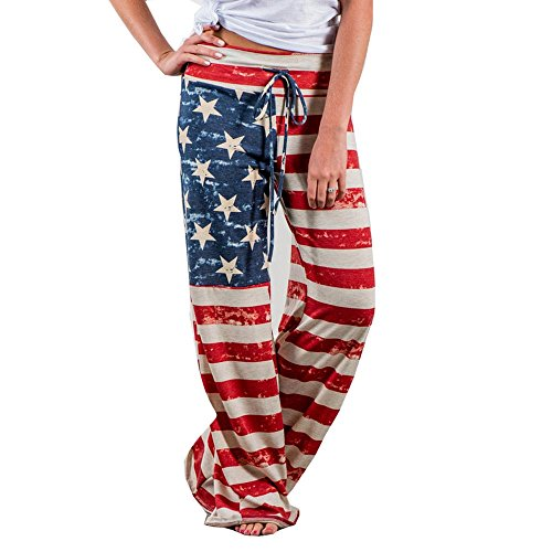Women Pants Neartime Print Loose Casual Pants American Flag Drawstring Wide Leggings (M, Multicolor)