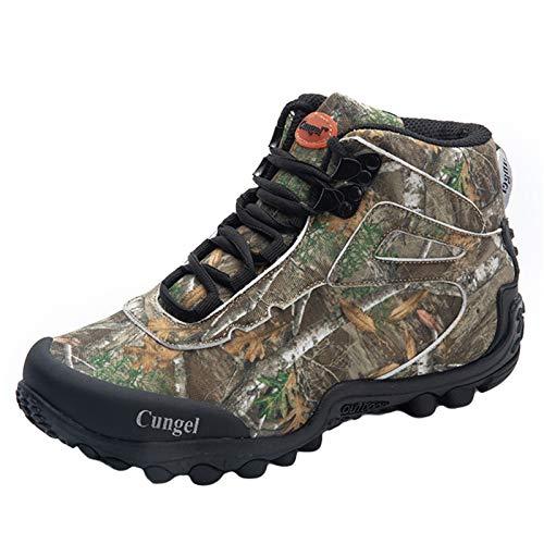 Willsky Zapatillas Para Caminar Para Hombres Camuflaje De Caza De Camuflaje Senderismo Para La Amortiguación Antideslizante Botas Del Tobillo Del Desierto Al Aire Libre,Verde,45EU