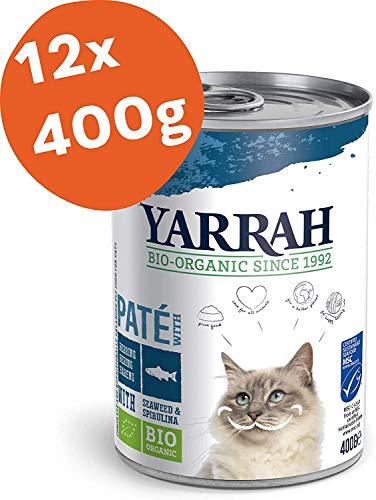 Yarrah Cibo Biologico Paté con Pesce per Gatti - 12 x 400 gr - per Tutti i Gatti, dai Cuccioli ai più Anziani - Senza Cereali con Piselli, Alghe e Spirulina