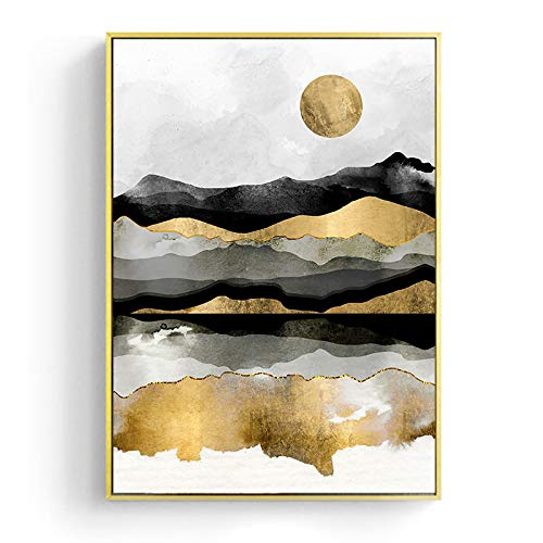 Impresión De La Lona Paisaje Japonés Golden Geometric Mountain Canvas Painting Abstract Poster Print Scandinavian Wall Art Picture For Home Decor, 40X50Cm Sin Marco